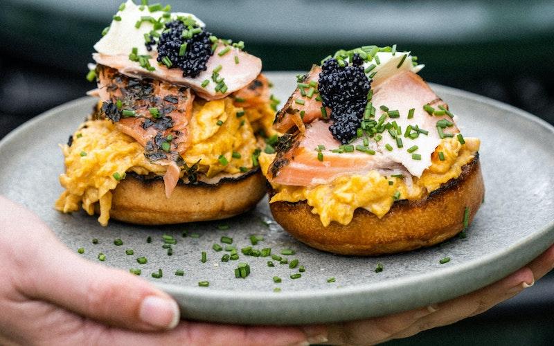 Smoked Salmon, Scrambled Egg & Caviar Crumpets   Recipes   Big Green Egg