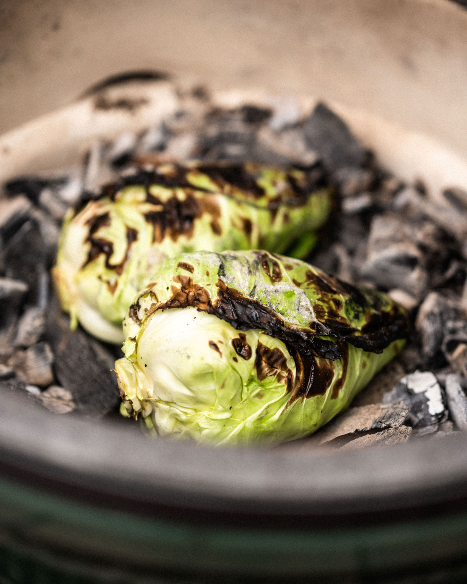 cook the cabbage directly on the charcoal