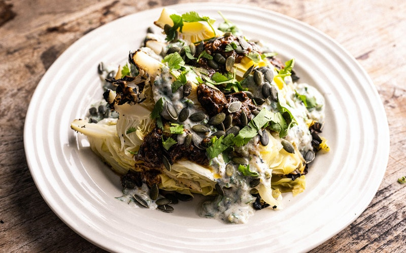 Hispi Cabbage with Jalapeño Buttermilk and Ancho Dressing | Dirty Cooking Recipes | Big Green Egg