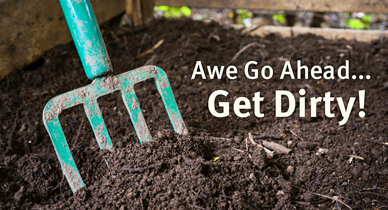"""A photo of soil with a pitch fork and the text """"Awe Go Ahead... Get Dirty!"""" in white on the soil"""