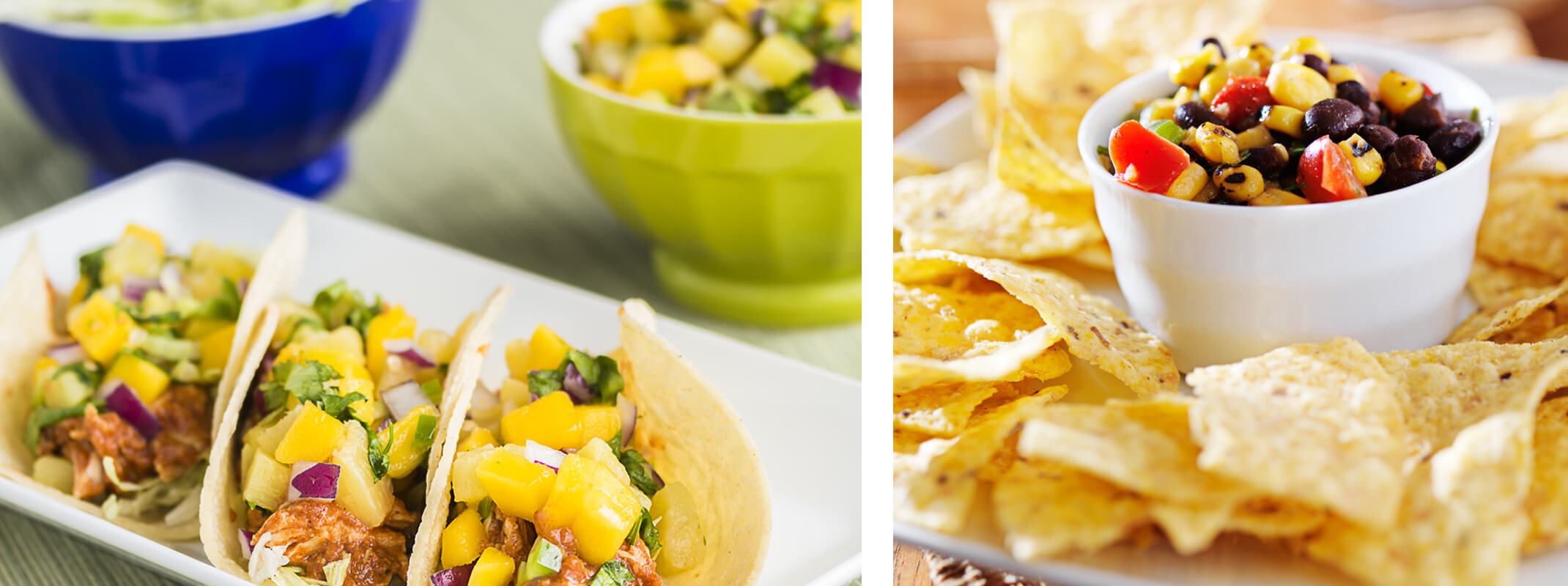 3 street tacos with mango and a plate of tortilla chips surrounding a small bowl of fresh salsa