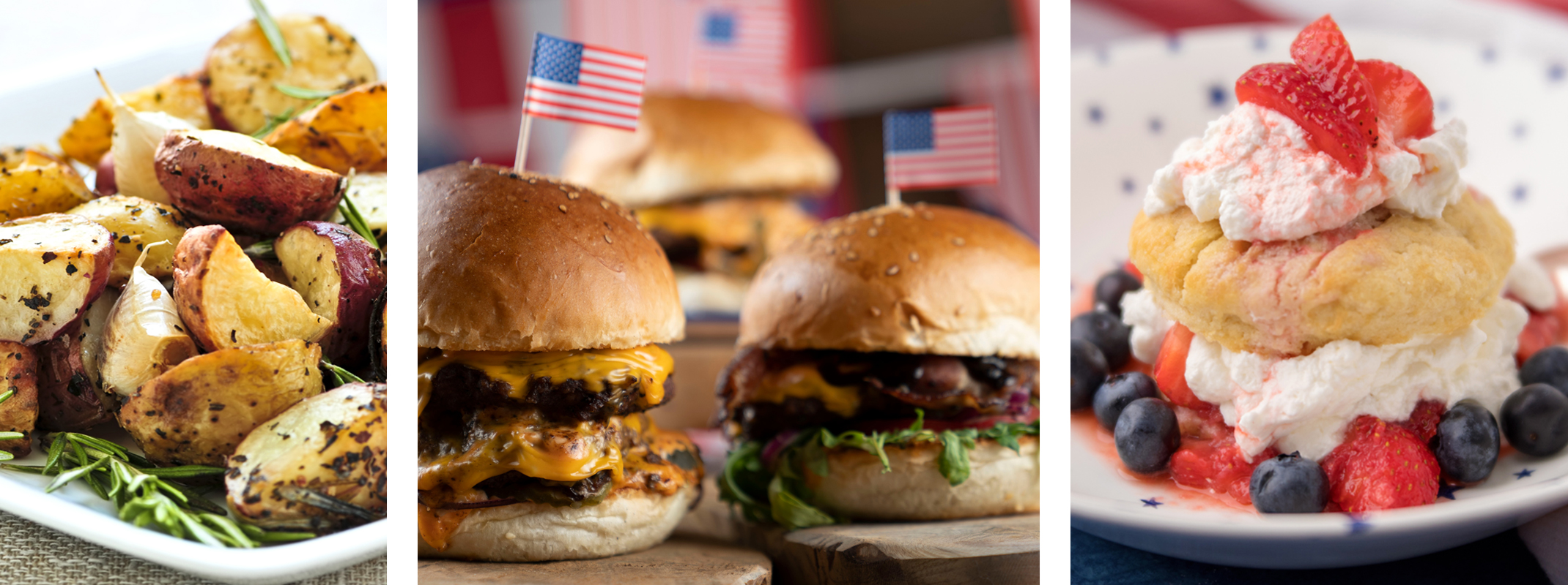 Roasted herb potatoes, grilled burgers for 4th of July with little flag toothpicks, red, white and blue shortcake dessert made with strawberries and blueberries