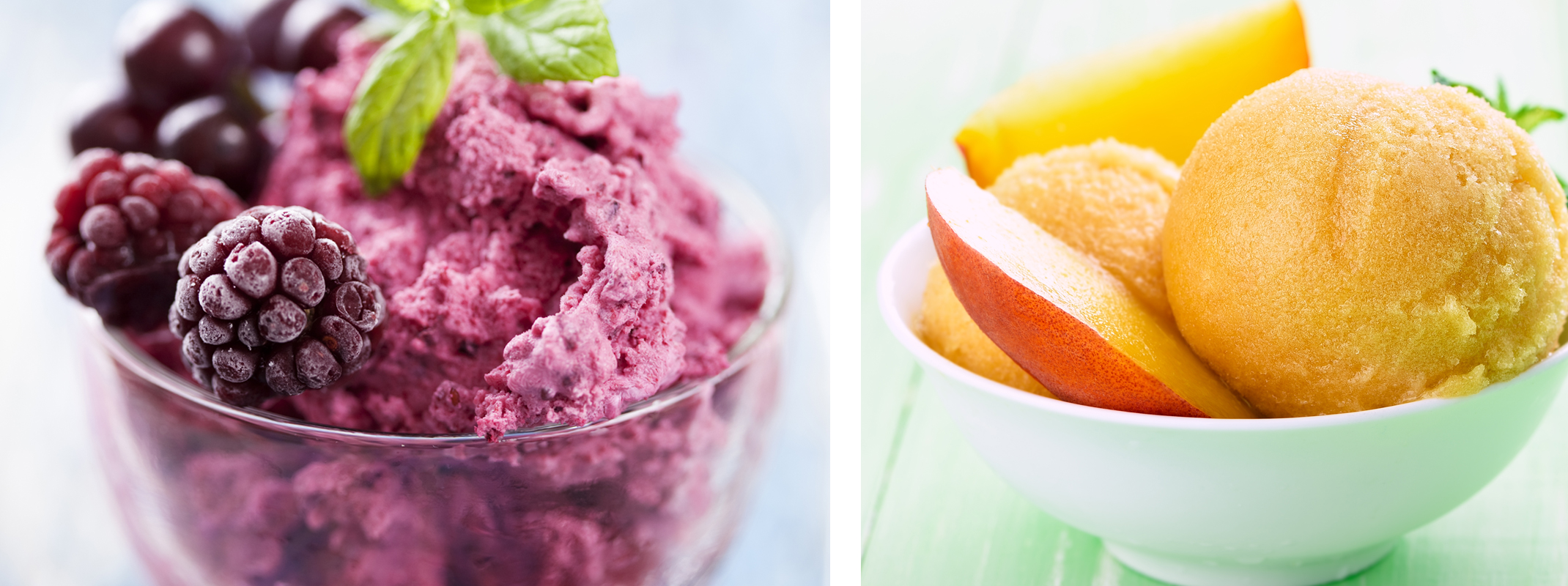Freshly made boysenberry and blueberry icecream with fresh berries on top and a sprig of mint and a fresh made peach ice ceam with fresh peaches on top in a white bowl