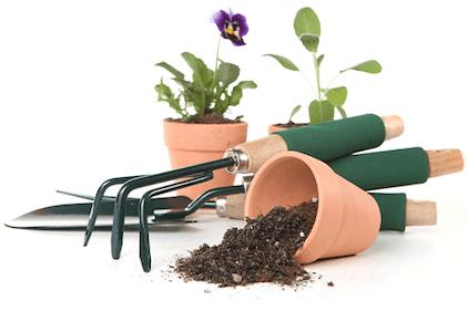 Flower pots and garden tools