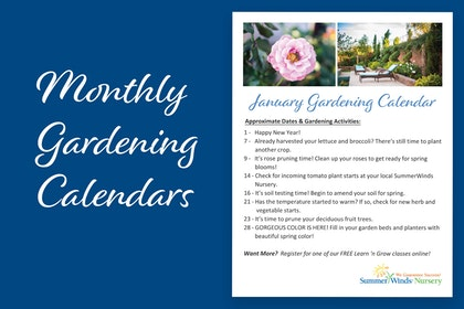 Monthly Gardening Calendars - with snapshot example of a list of items for January