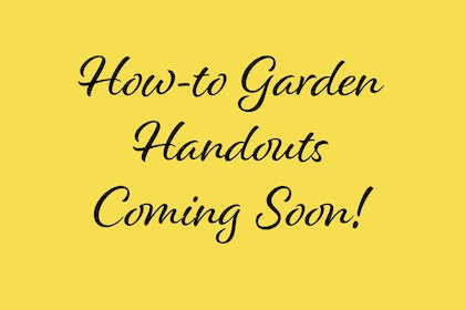 How-to Garden Handouts Coming Soon black text on yellow background