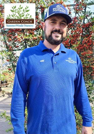 SummerWinds Nursery Garden Coach logo on picture of Jeff Pavone
