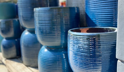 Large outdoor blue pottery