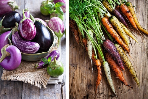 2 images: a variety of eggplants in a bowl and on a wooden table, and fresh-pulled rainbow carrots on a wooden table