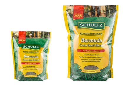 2 sizes of Schultz Supreme Selections Bermuda Grass Seed Blend