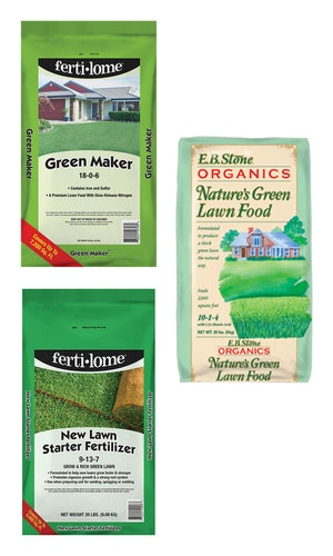pictures of 3 different lawn foods bags: Fertilome Green Maker, EB Stone Organics Nature's Green Lawn Food,  and Fertilome New Lawn Starter Fertilizer