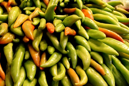 A bunch of Hungarian Wax Peppers - close up