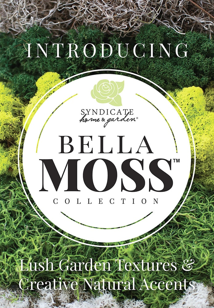 Various colors of moss layered in the background with a white circle showing the syndicate home garden logo and bell moss collection plus the words Introducing and lush garden textures and creative natural accents on the image