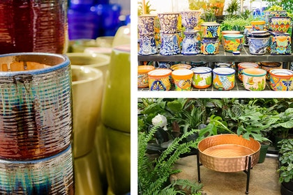 3 images: a closeup of red and blue textured pots with yellow and blue pots in the background; a display of a variety of Talavera pots at SummerWinds; and a copper hammered planter with a black metal stand surrounded by a variety of houseplants and a ceramic white cat sculpture