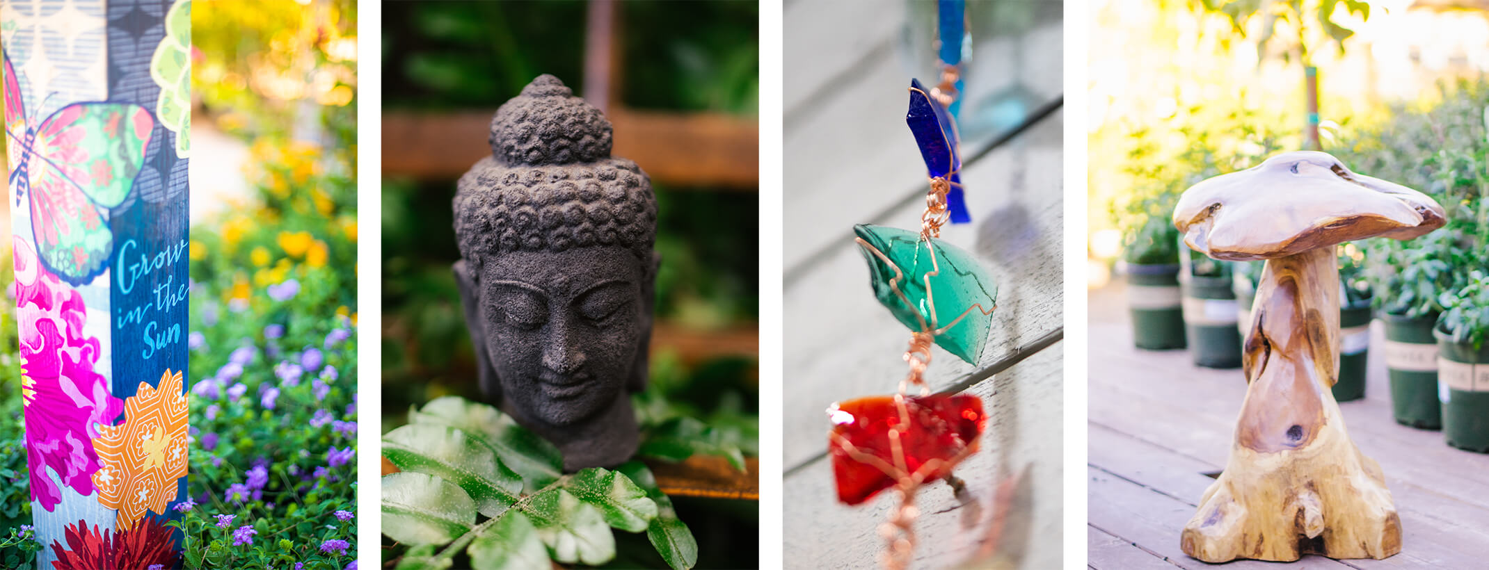 4 images - Studio M Garden Art Pole, A black stone Buddha head surrounded by plants, a closeup of a recycyled glass decorative rain chain, and a carved wooden mushroom sculpture with plants in background