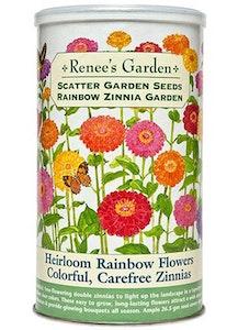 A package of Renee's Garden - Scatter Garden Seeds - Rainbow Zinnia Garden