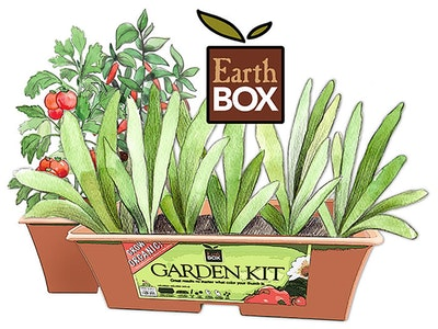 Earthbox garden kit illustration of the kit with plants and the earthbox logo