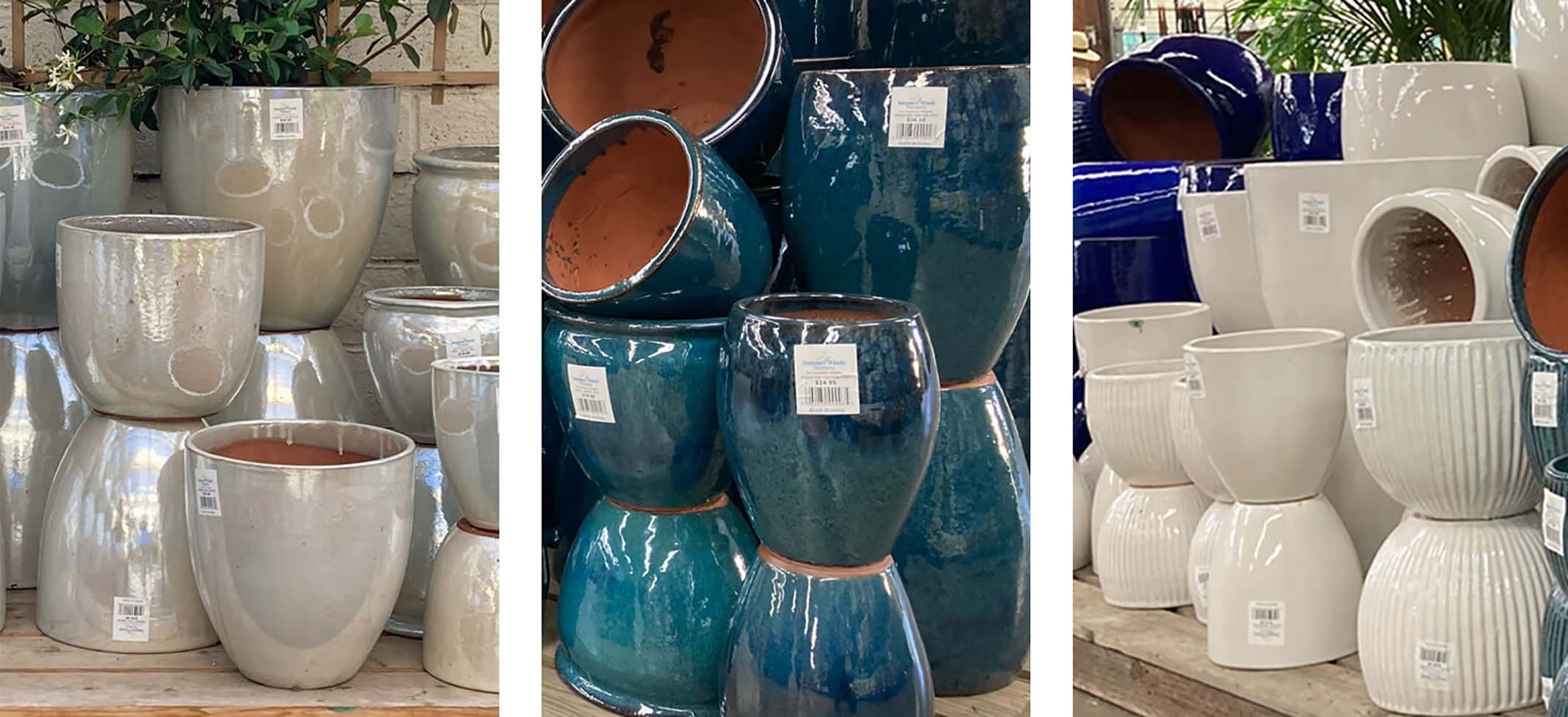 Graeme Haling outdoor and indoor pottery - various sizes and styles in pearl, blue and white