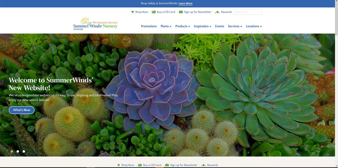 A screenshot of SummerWinds Nursery's Arizona Home Page of newly designed website