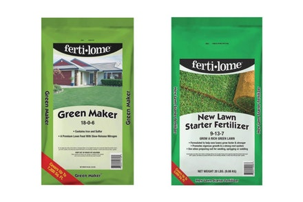 A bag of Fertilome Green Maker and a bag of Fertilome New Lawn Starter Fertilizer against a white background