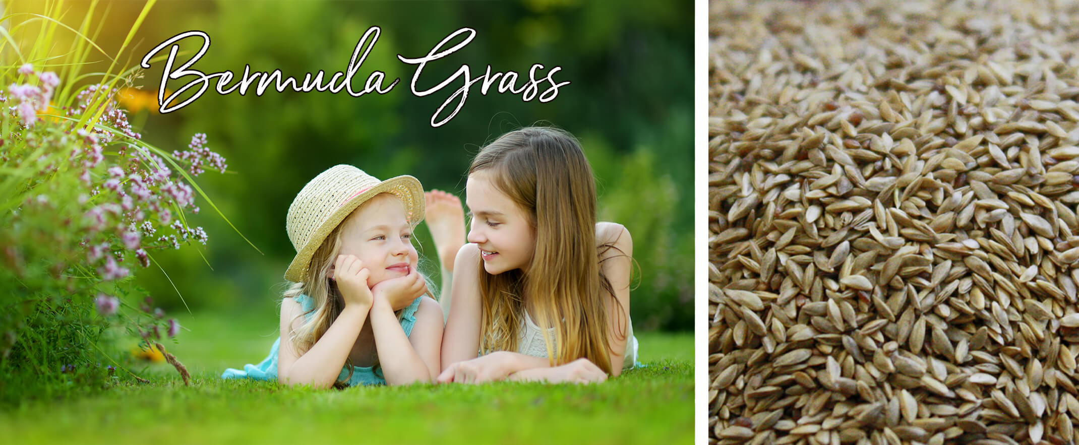 2 images: two girls laying on their stomachs in the grass near plants with white text that says