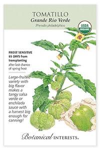 botanical interests tomatillo grande rio verde seed packet