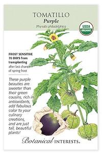 botanical interests tomatillo purple seed packet