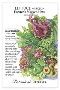 botanical interests lettuce mesclun farmer's market blend seed packet