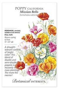 botanical interest mision bells poppy california seeds packet