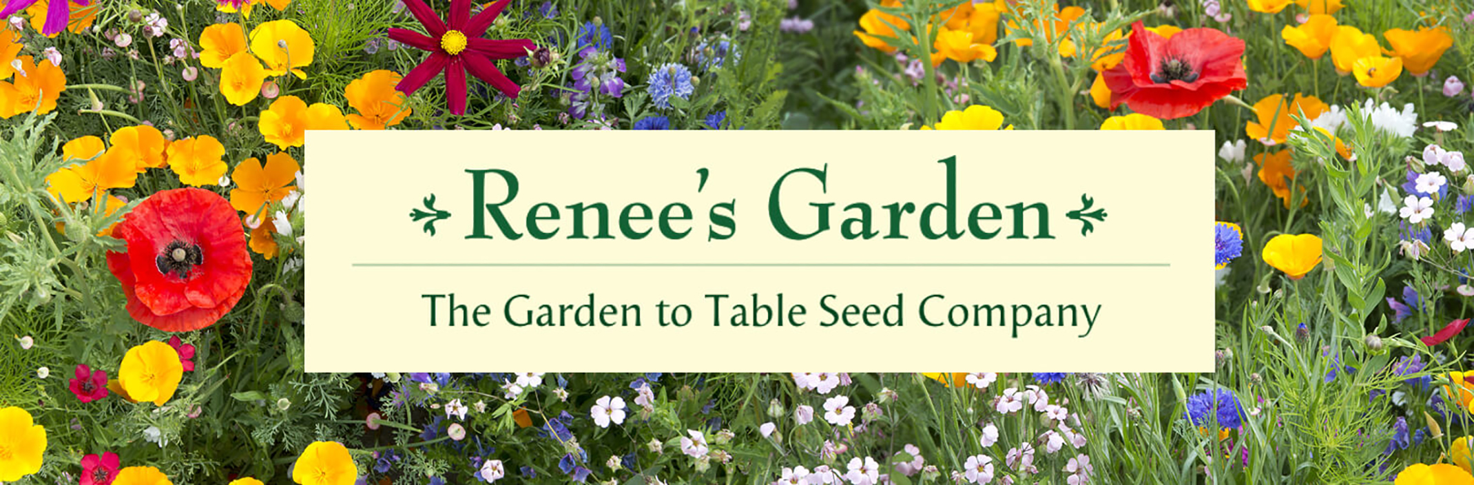 Renee's Garden the garden to table seed company logo in the middle of an image of wild flower