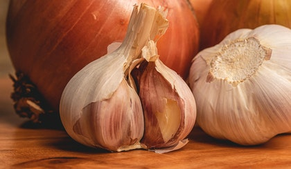 Onions and garlic from spring edible bulbs