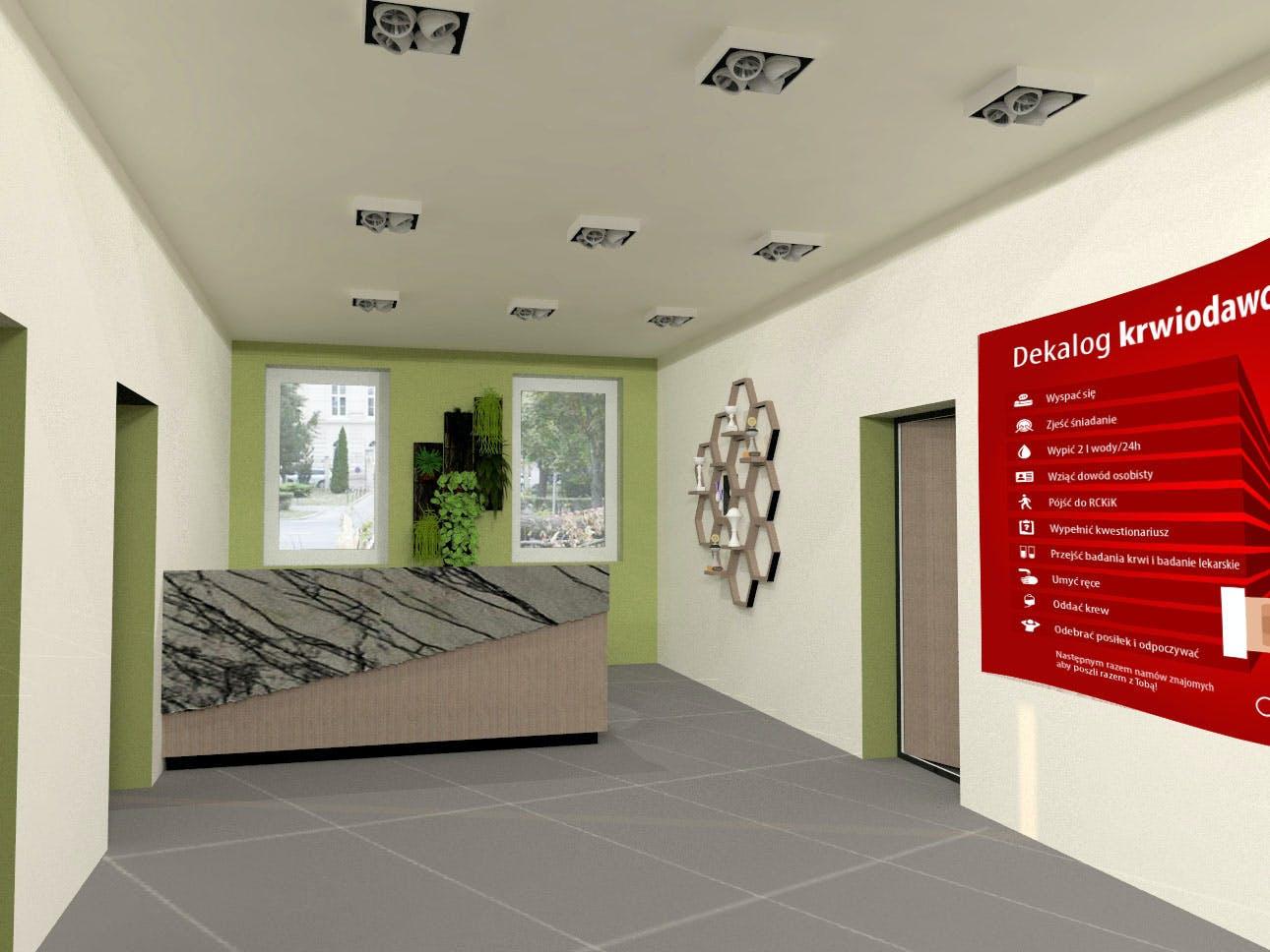 Projekt wnętrz Centrum Krwiodawstwa w Lublinie