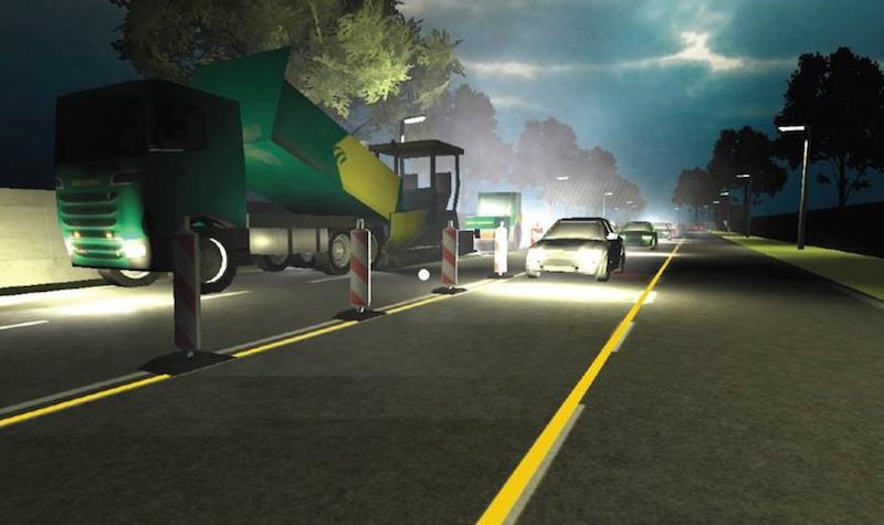 VR afbeelding van een gevaarlijke situatie bij wegwerkzaamheden