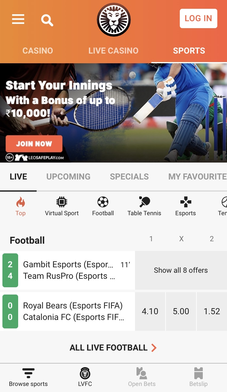 LeoVegas Sports App