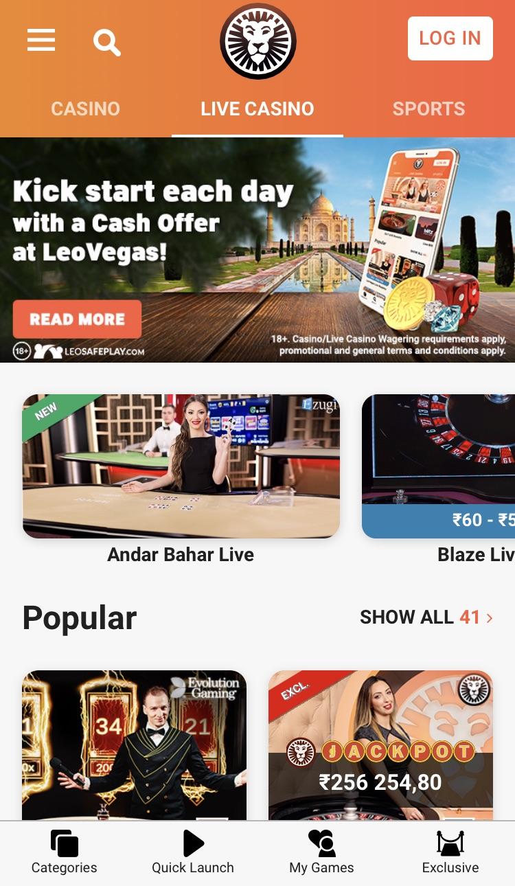 LeoVegas Live Casino App