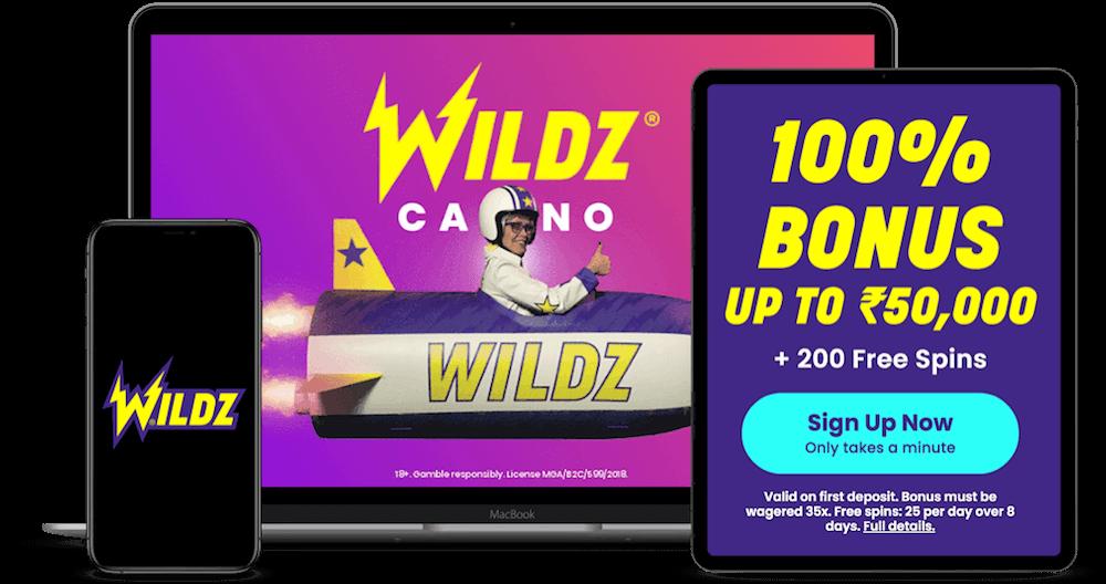 Wildz Casino India Review 2021 50 000 200 Free Spins