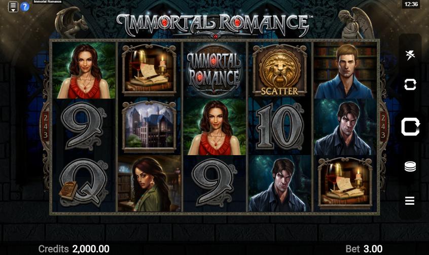Immortal Romance Slot Playing Grid