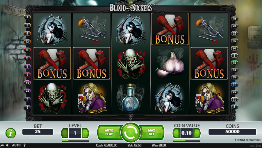 Blood Suckers Slot Playing Grid