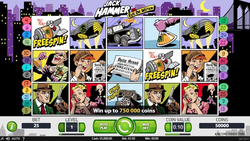 Jack Hammer Slot Playing Grid