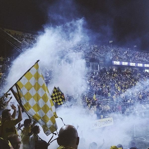 Fans at a football match