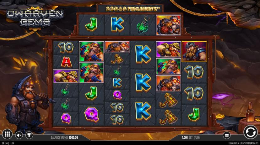 Dwarven Gems Megaways Slot Playing Grid