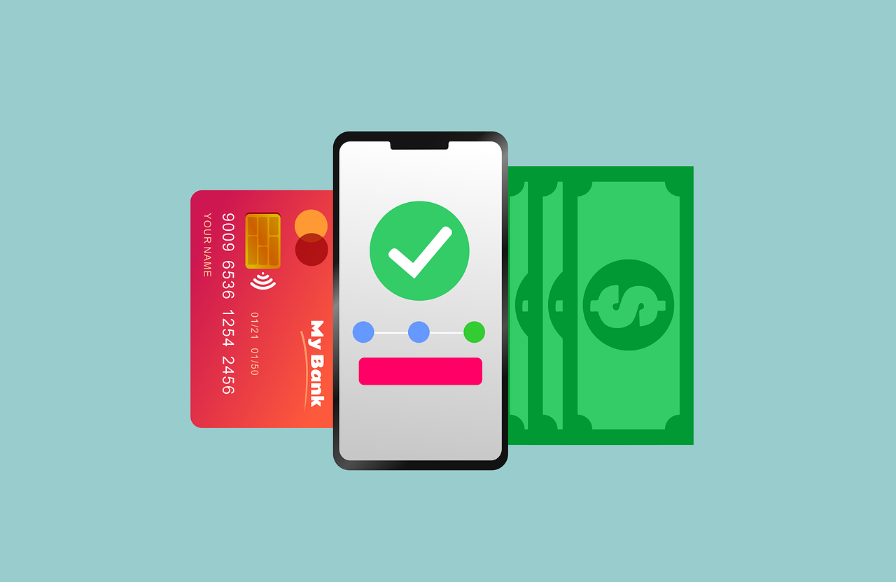 Bank card, money and smartphone