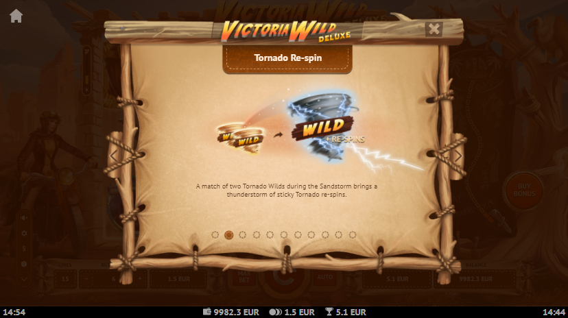 Victoria Wild Deluxe Slot Tornado Re-spin