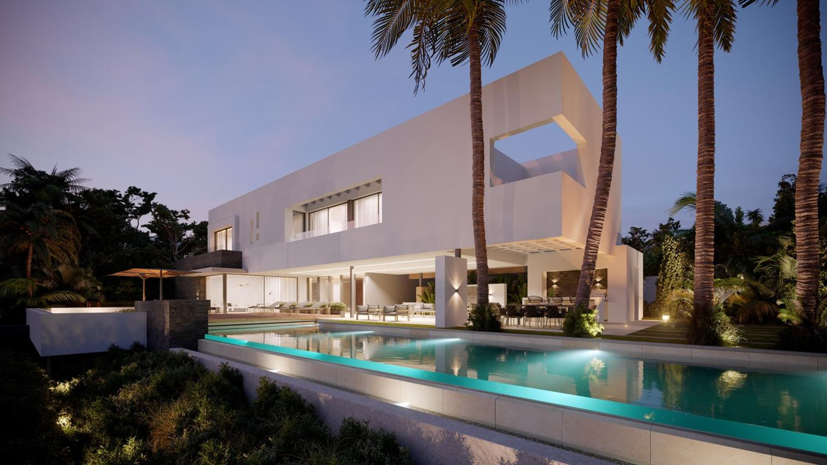 building housing villa house mansion water pool hotel