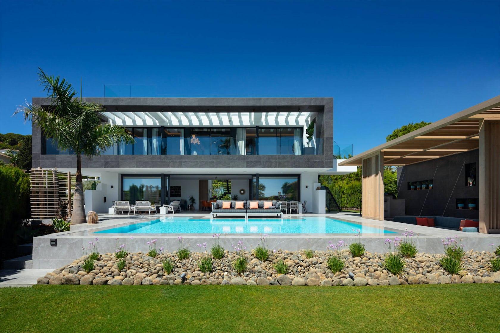 villa housing building house grass plant mansion