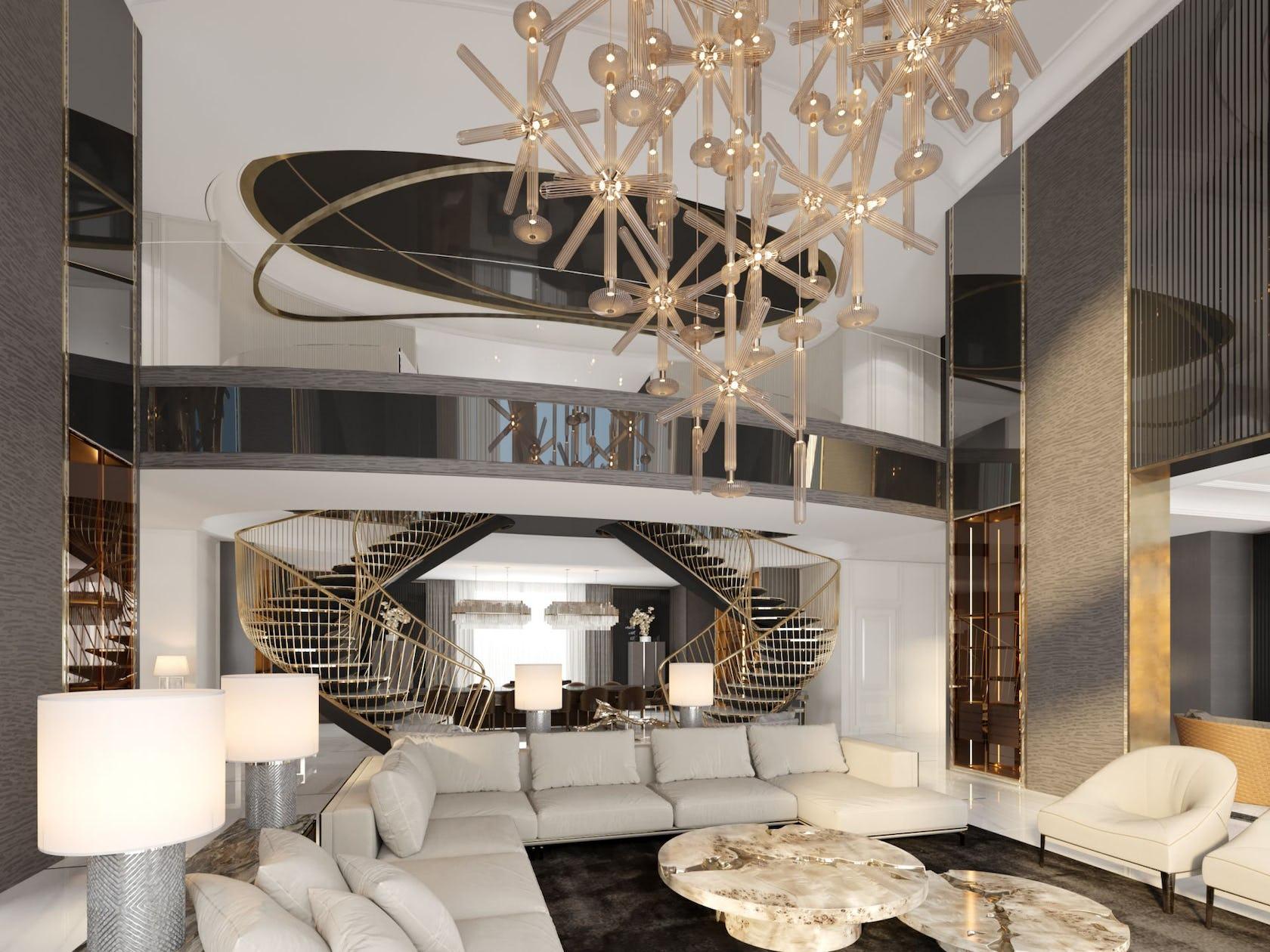 housing building living room indoors room interior design loft chandelier lamp