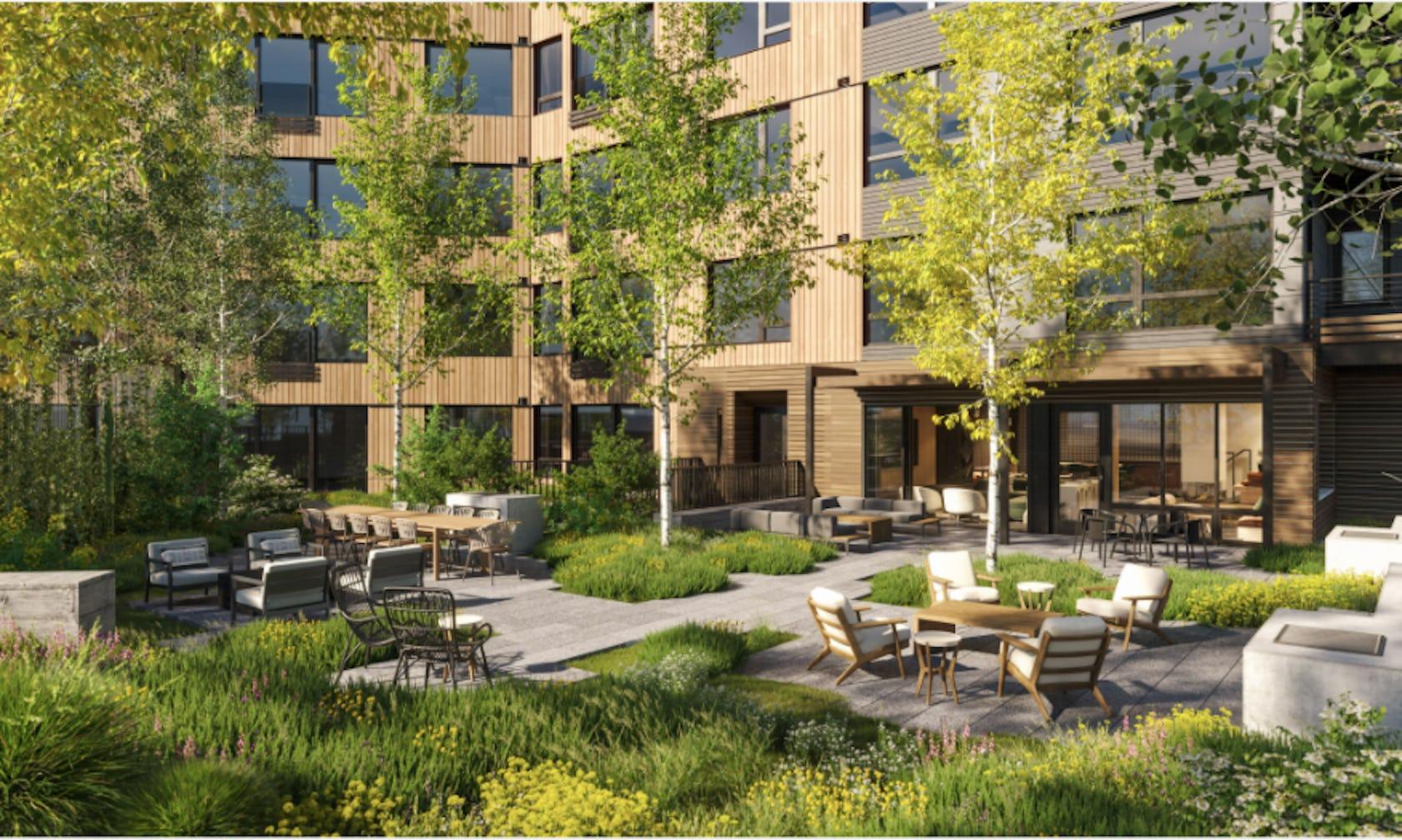 building chair furniture condo housing grass yard high rise city urban