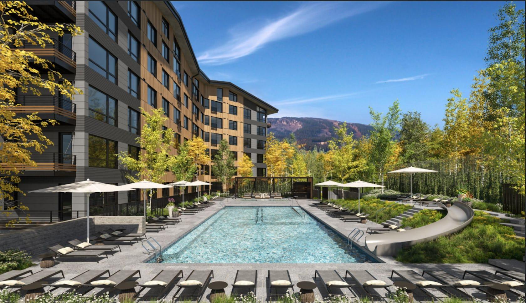 resort building hotel pool water