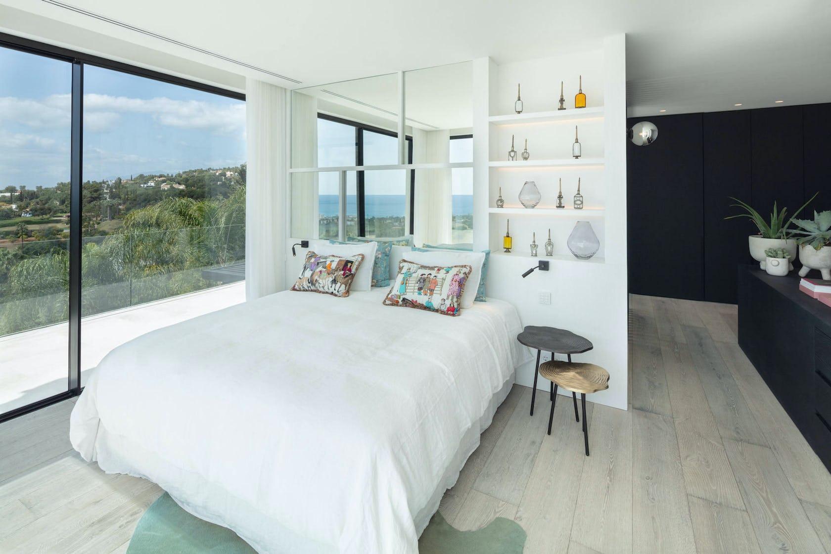 bed furniture bedroom room indoors interior design