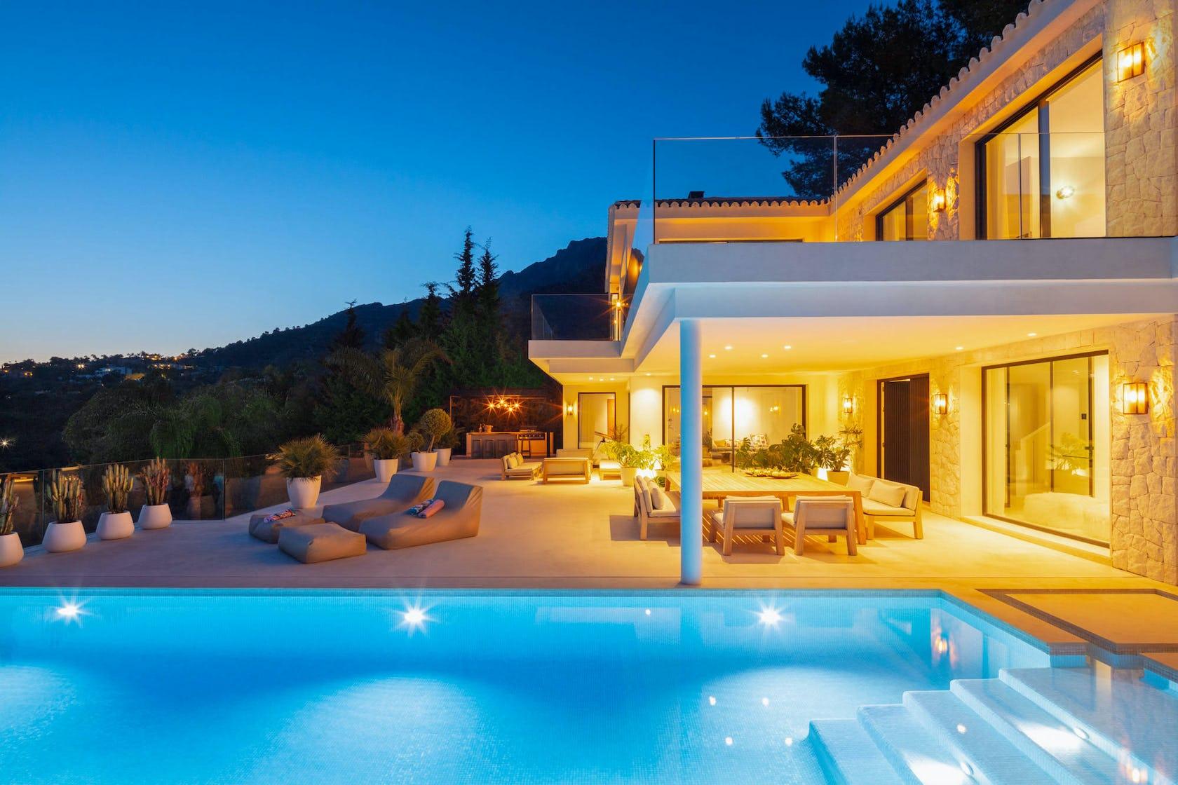 villa housing building house water pool